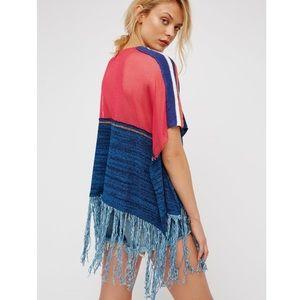 Free People Sunset Fringe Knit Oversized Sweater